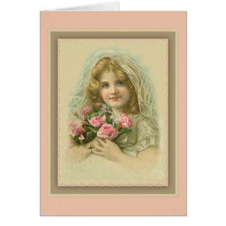 Cartão Menina encoberta vintage com rosas & rosário