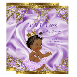 Cartão Menina étnica da princesa chá de fraldas do ouro