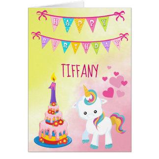 Cartão Menina feliz do primeiro aniversario do unicórnio