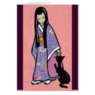 Cartão Menina japonesa e seu gato