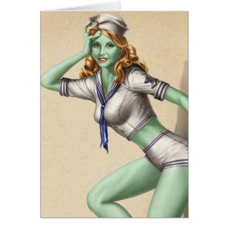 Cartão Menina militar do Pinup do zombi do vintage
