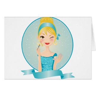 Cartão Menina no azul