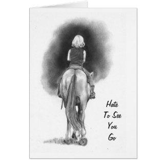 Cartão Menina no cavalo: Deie vê-lo ir: Escreva a arte