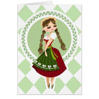 Cartão Menina no Dirndl