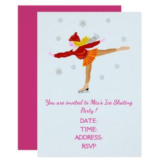 Cartão Menina ou partido adolescente do patinagem no gelo
