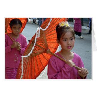 Cartão Menina & parasol