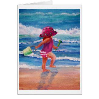 Cartão Menina pelo oceano