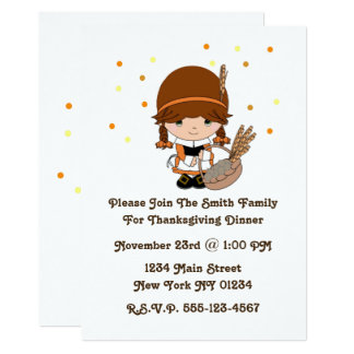 Cartão Menina pequena do peregrino da acção de graças