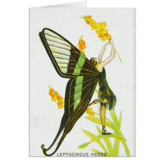 Cartão Menina preta & verde da borboleta