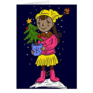 Cartão Menina que guardara a árvore de Natal