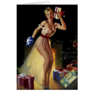 Cartão Menina retro do Pinup da Noite de Natal de Gil