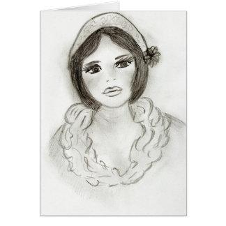 Cartão Menina Ruffled do Flapper