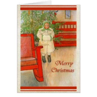 Cartão Menina sueco com Feliz Natal do Muff do inverno