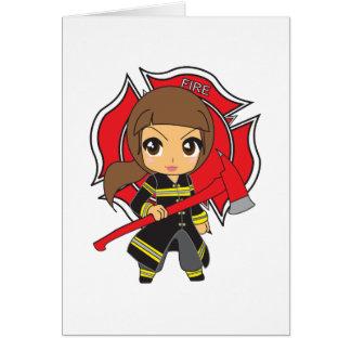 Cartão Menina triguenha do sapador-bombeiro de Kawaii