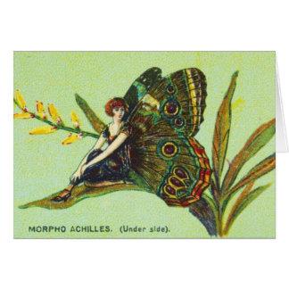Cartão Menina verde da borboleta