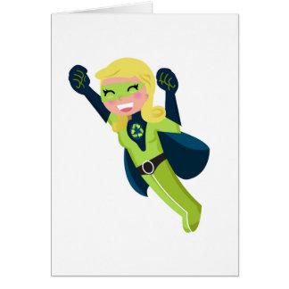 Cartão Menina verde do super-herói