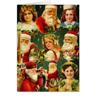 Cartão Meninas antiquados & papai noel do Natal