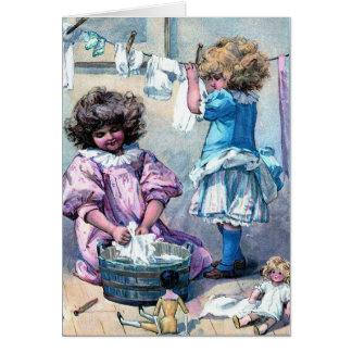Cartão Meninas da pintura do vintage que lavam o dia da