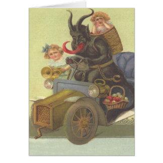 Cartão Meninas de Krampus Obducting no carro
