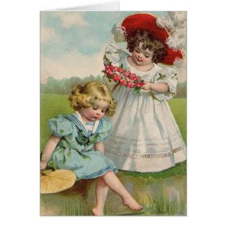Cartão Meninas do Victorian pela água