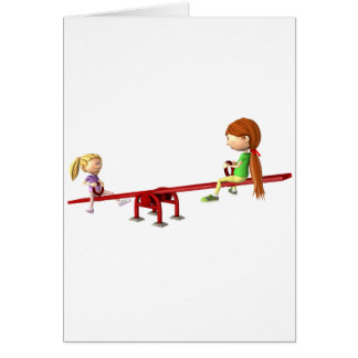 Cartão Meninas dos desenhos animados em um balanço