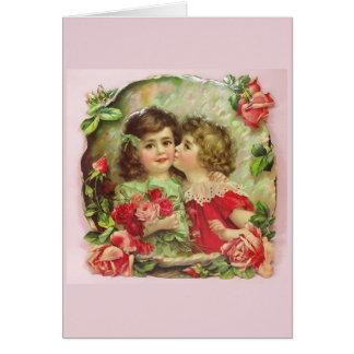 Cartão Meninas e rosas,