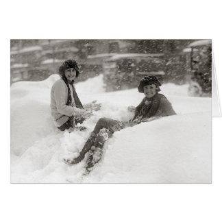 Cartão Meninas na neve, 1922