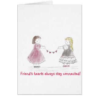 Cartão Meninas que guardaram a corrente do coração