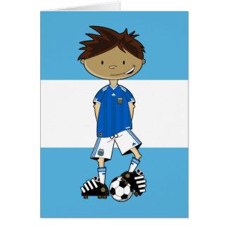 Cartão Menino argentino do futebol do campeonato do mundo