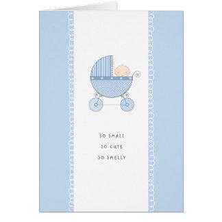 Cartão Menino azul novo tão pequeno, tão bonito de