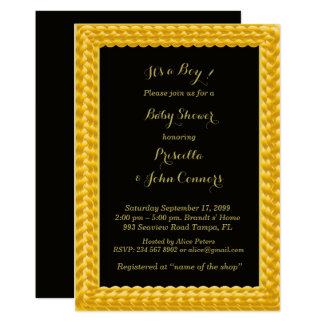 Cartão Menino do chá de fraldas do convite, ouro
