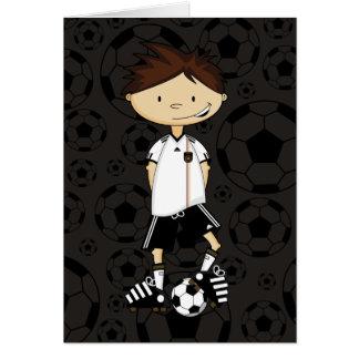 Cartão Menino do futebol do campeonato do mundo de