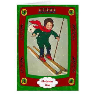 Cartão Menino em esquis
