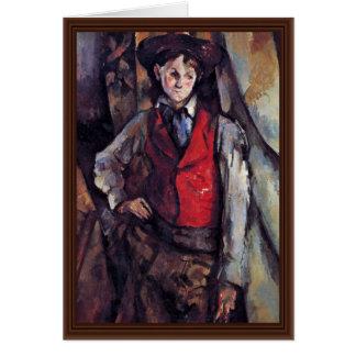 Cartão Menino em um Waistcoat vermelho, por Paul Cézanne