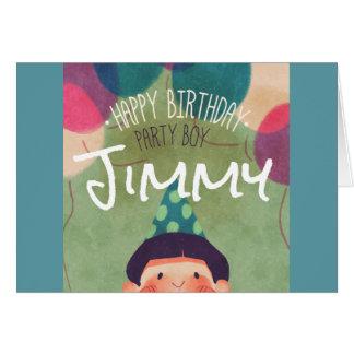 Cartão Menino feliz da festa de aniversário da ilustração