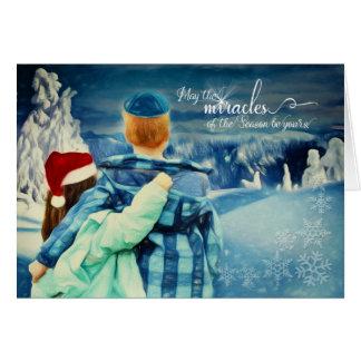 Cartão Menino inter-religioso em um Kippah - menina em um