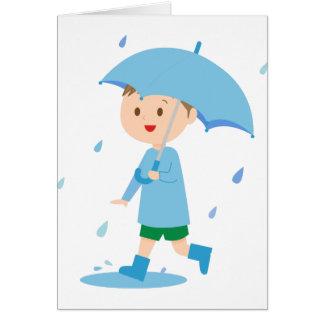 Cartão Menino na chuva