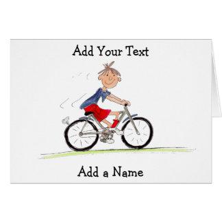 Cartão Menino na ilustração da bicicleta