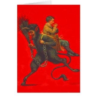 Cartão Menino Praying do rapto vermelho de Krampus