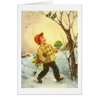 Cartão Menino que anda na neve