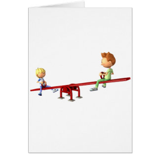 Cartão Meninos dos desenhos animados que têm o