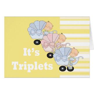 Cartão Meninos e menina novos da objectiva tripla do bebê