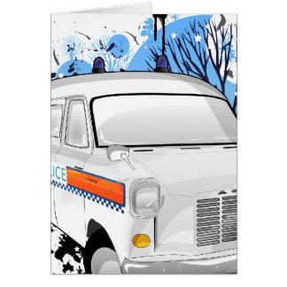 Cartão Meninos no azul - polícia Van retro 1988