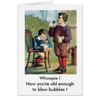 Cartão Meninos que fundem bolhas