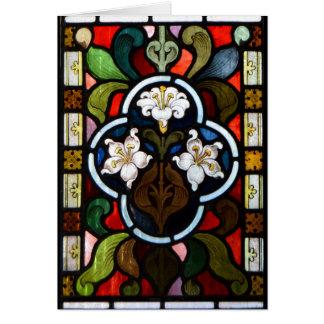 Cartão Menor Cornualha de StColumb do vitral de Lillies