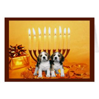Cartão Menorah2 de Chanukah do lebreiro