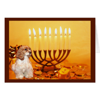 Cartão Menorah2 de cocker spaniel Chanukah