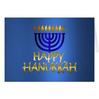 Cartão Menorah dourado arde Hanukkah feliz no azul