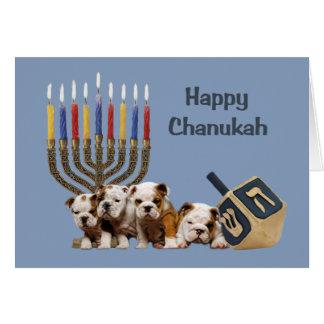 Cartão Menorah Dreidel2 de Chanukah do buldogue