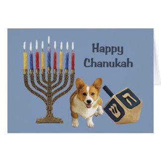 Cartão Menorah Dreidel de Chanukah do Corgi de